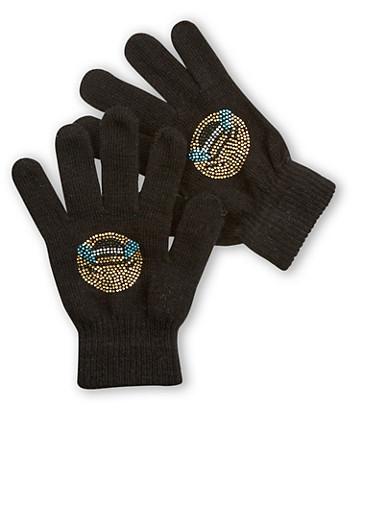 Laughing Emoji Gloves,BLACK,large