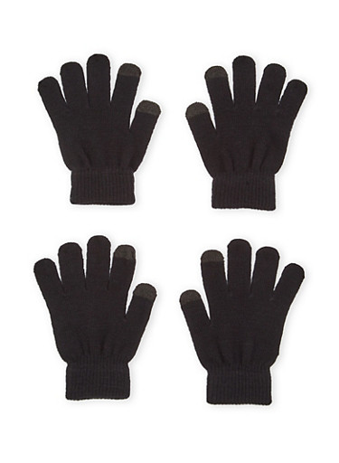 2 Pack of Knit Gloves with Contrast Tips,BLACK/BLACK,large