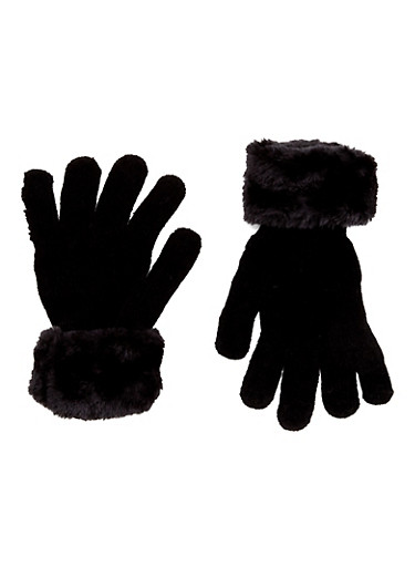 Knit Gloves with Faux Fur Cuffs,BLACK,large