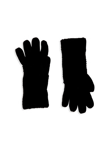 Gloves with Convertible Patterned Cuffs,BLACK,large