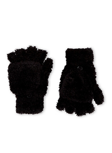 Convertible Mittens in Chenille,BLACK,large