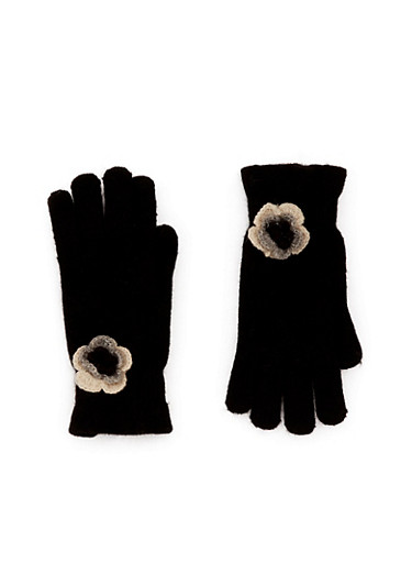 Knit Ruffled Gloves with Flower Accent,BLACK,large