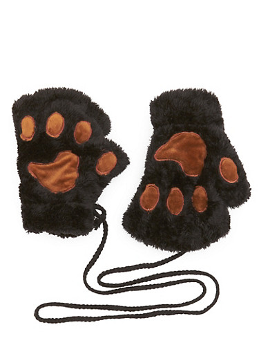 Plush Fingerless Gloves with Paw Patches,BLACK/BROWN,large