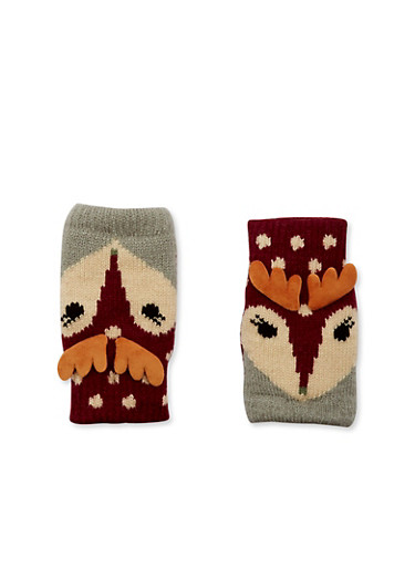 Knit Fingerless Gloves in Animal Design,GRAY,large