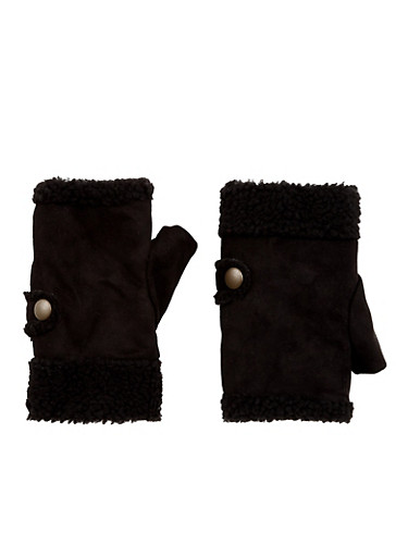 Fingerless Gloves in Faux Shearling,BLACK/BLACK,large