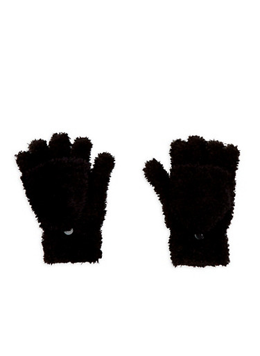 Fuzzy Convertible Mittens,BLACK,large