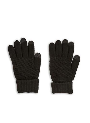 Waffle Knit Gloves,BLACK,large