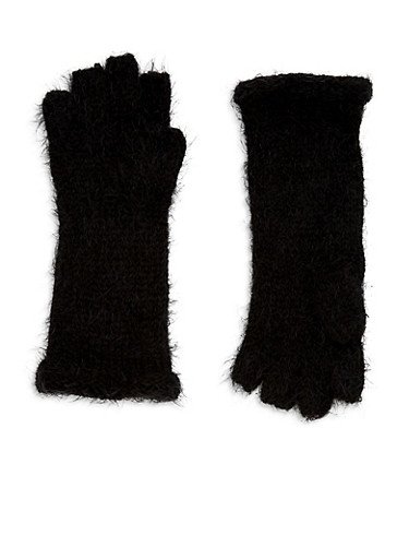 Fingerless Soft Knit Gloves,BLACK,large