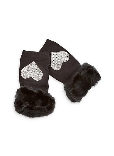 Rhinestone Heart Fingerless Gloves with Faux Fur Cuff,BLACK,large