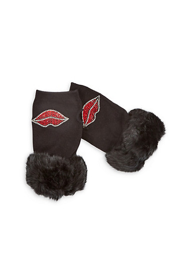 Rhinestone Lips Fingerless Gloves with Faux Fur Cuff,BLACK,large