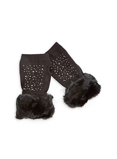 Studded Fingerless Gloves with Faux Fur Cuff,BLACK,large