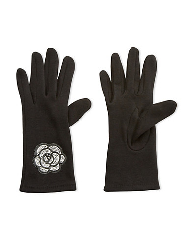 Rhinestone Rose Patch Gloves,BLACK,large