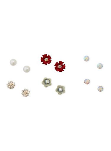 Set of 6 Assorted Rhinestone and Flower Stud Earrings,IVORY,large