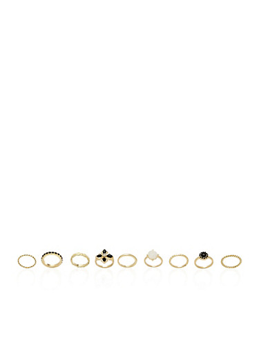 Set of 9 Textured Rings,GOLD,large