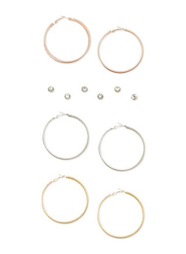 Set of 6 Glitter Hoop and Rhinestone Earrings,TRITONE (SLVR/GLD/HEMAT),large