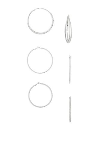 3 Piece Hoop Earrings Set,SILVER,large