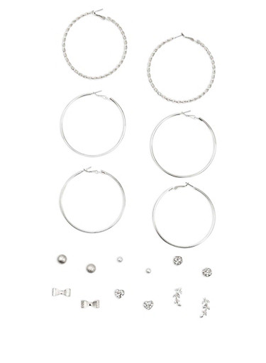9 Piece Textured Stud and Hoop Earrings Set,SILVER,large
