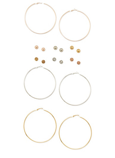 Set of 9 Solid Hoop and Ball Stud Earrings,TRITONE (SLVR/GLD/HEMAT),large