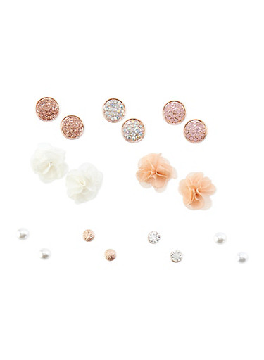 Set of 9 Assorted Flower and Rhinestone Stud Earrings,TRITONE (SLVR/GLD/HEMAT),large