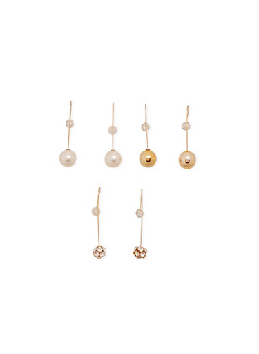 Set of 3 Assorted Dangling Ball Earrings,GOLD,large