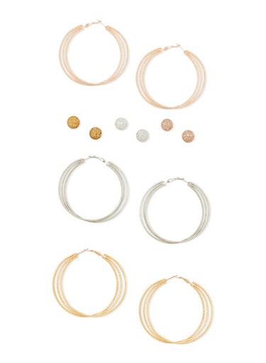 Set of 6 Multi Textured Hoop and Stud Earrings,TRITONE (SLVR/GLD/HEMAT),large