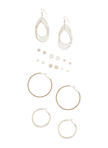 9 Piece Assorted Earring Set,SILVER,large
