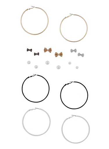 Set of 9 Hoop and Stud Earrings,BLACK/WHITE,large