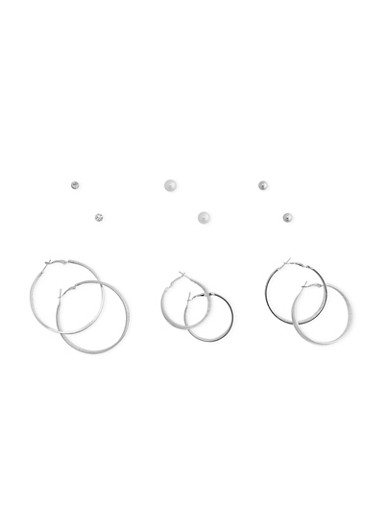 Set of 6 Layered Hoop and Assorted Stud Earrings,SILVER,large