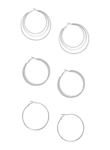 Set of 3 Multi Layered Hoop Earrings,SILVER,large