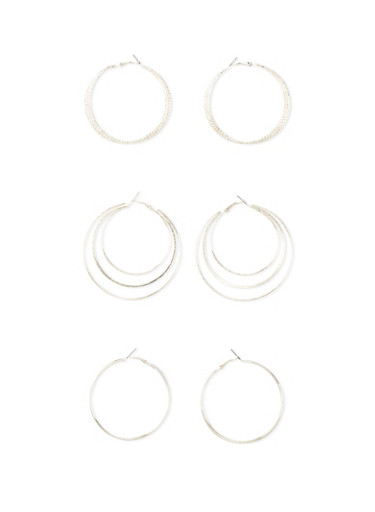 Set of 3 Layered Hoop Earrings with Glitter,SILVER,large