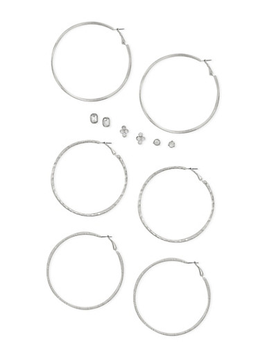 6 Piece Rhinestone Stud and Hoop Earrings Set,SILVER,large