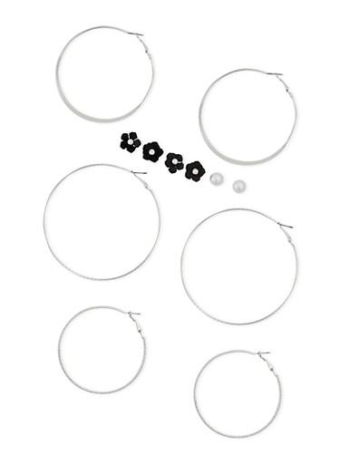 6 Flower Stud and Hoop Earrings Set,SILVER,large