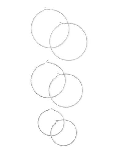 Set of 3 Assorted Texture Hoop Earrings,SILVER,large