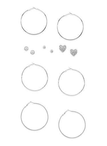 Set of 6 Multi Textured Stud and Hoop Earrings,SILVER,large