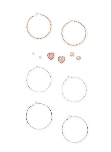 Set of 6 Multi Textured Earrings,ROSE,large
