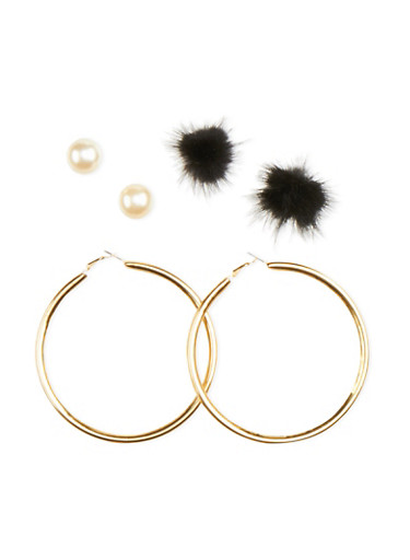 Set of 3 Earrings with Faux Mink and Faux Pearl Accents,BLACK,large