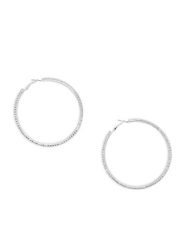 Large Rhinestone Hoop Earrings,SILVER,large