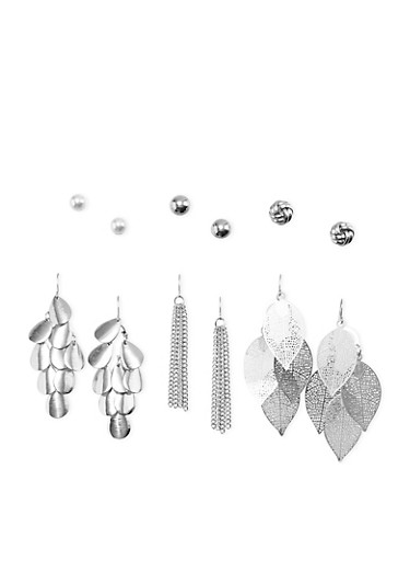 Set of 6 Dangling French Wire and Ball Stud Earrings,SILVER,large