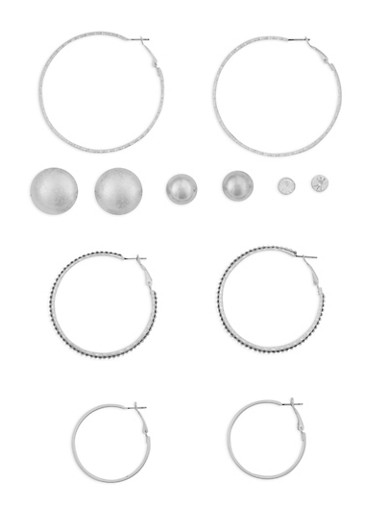Set of 6 Multi Size Stud and Hoop Earrings,SILVER,large