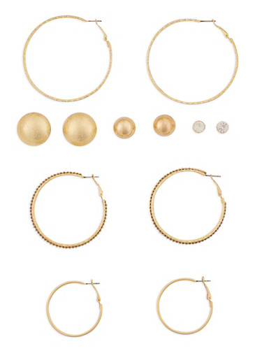 Set of 6 Multi Size Stud and Hoop Earrings,GOLD,large