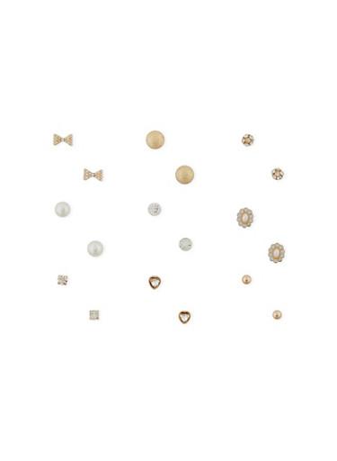 Set of 9 Assorted Rhinestone and Pearl Stud Earrings,TRITONE (SLVR/GLD/HEMAT),large