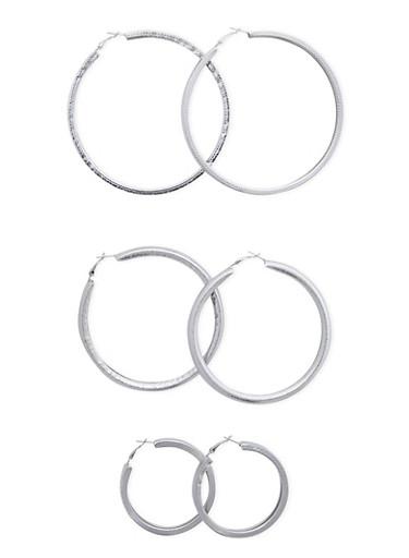 Set of 3 Textured Hoop Earrings,SILVER,large