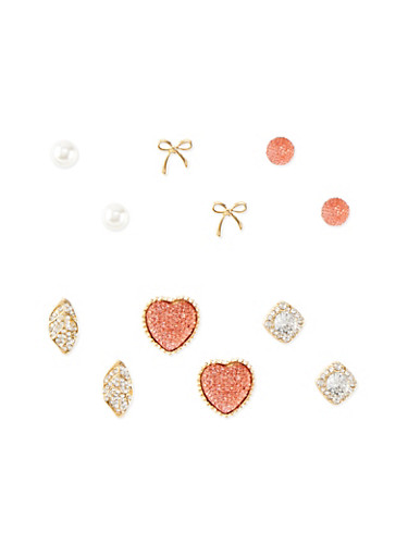 Set of 6 Assorted Pave Stud Earrings,CORAL,large