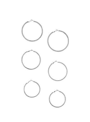 3 Piece Twisted Hoop Earrings,SILVER,large