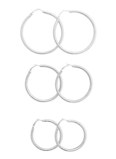Set of 3 Etched Hoop Earrings,SILVER,large