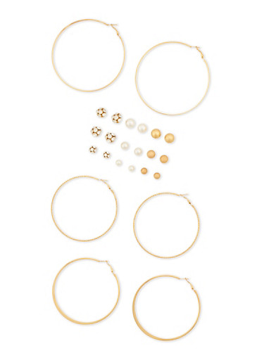 12 Assorted Stud and Hoop Earrings Set,GOLD,large