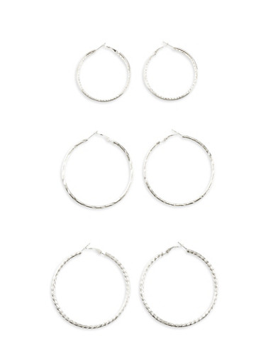 Set of 3 Assorted Size Twist and Glitter Hoop Earrings,SILVER,large