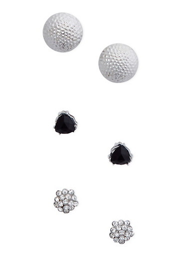 Set of 3 Stud Earrings with Crystal Accents,SILVER,large