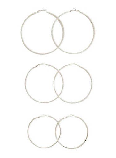 Set of 3 Textured Hoop Earrings,SILVER,large