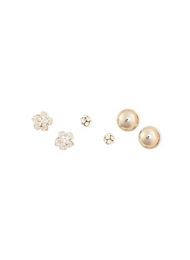 Set of 3 Rhinestone Cluster Flower and Metallic Studs,SILVER,large